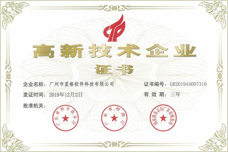 头头国际软件高新技术企业证书
